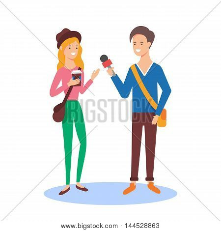Reporter taking the interview, mass media concept vector illustration