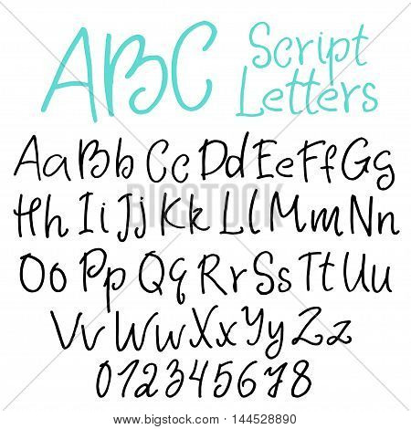 Hand-written script letters set uppercase and lowercase characters digits.