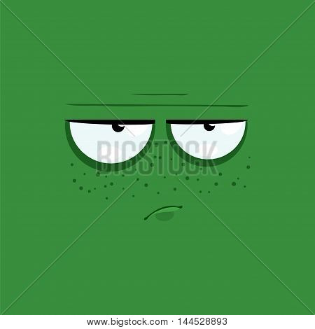 Cartoon face with a depressive expression on green background.
