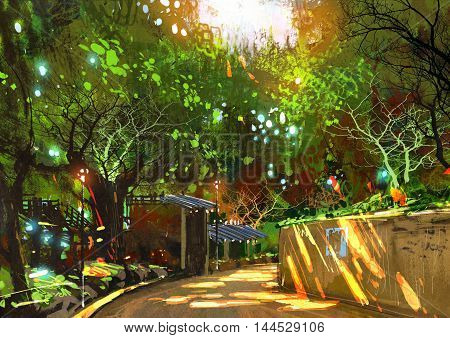 walkway in green park with sunlight, illustration painting
