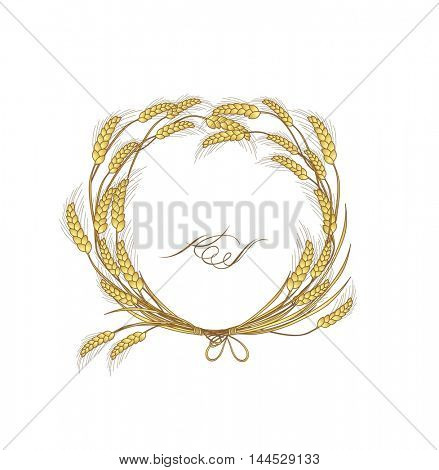 Floral wreath with wheat