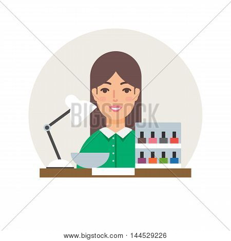 Profession - manicurist vector illustration, beauty concept flat style