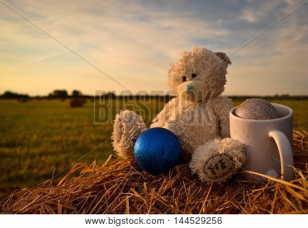 Close to the beautiful shabby white Bear sitting on a haystack. Balls for decoration. Warm toning effect. A little festive