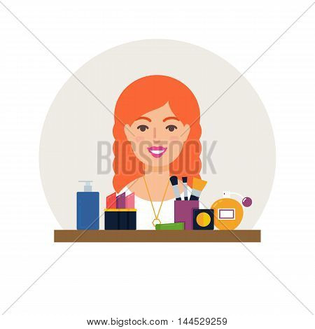 Profession - make-up artist, cosmetologist vector illustration flat style