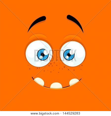 Cartoon face with a smiling expression on orange background.