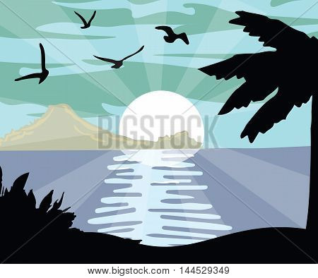 Summer Night Beach view Card Vector. Palm Trees silhouette. Moonlight shine