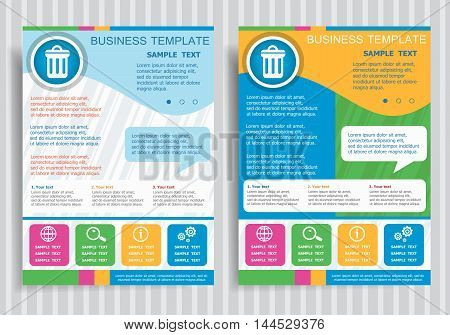 Trash Can Symbol On Vector Brochure Flyer Design Layout Template