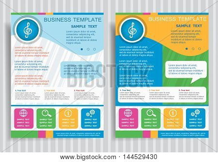 Treble Clef Vector Icon On Vector Brochure Flyer Design Layout Template