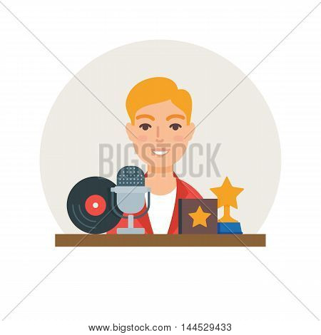 Hobby - music. Singer vector illustration flat style