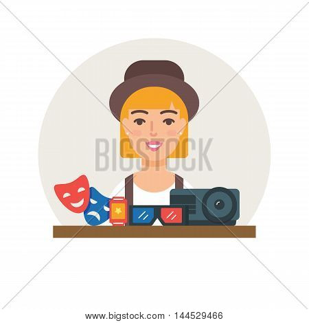 Hobby - Watching movies vector illustration flat style