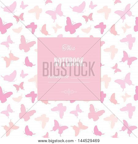 Cute template for scrapbook girly design birthday wedding bridal shower notebook cover diary photo album page. Pastel pink. Seamless pattern included.