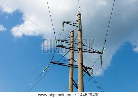 power transmission tower on blue sky background