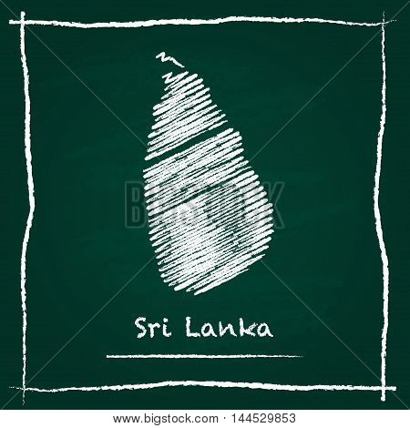 Sri Lanka Outline Vector Map Hand Drawn With Chalk On A Green Blackboard. Chalkboard Scribble In Chi