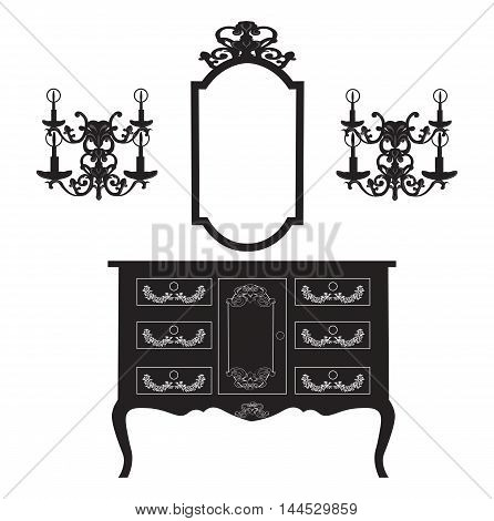 Dressing Table and mirror Frame and wall lamps. French rich carved ornaments furniture. Antique  Royal Style collection