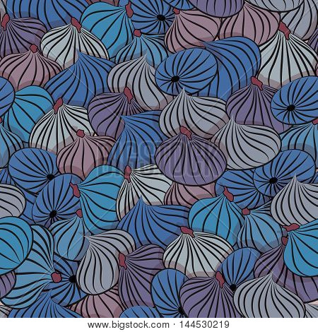 Fig vector. Seamless pattern with figs whole fruit.
