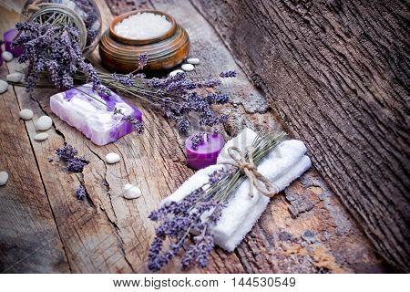 Spa treatment - lavender soap, scented salt and spa stones