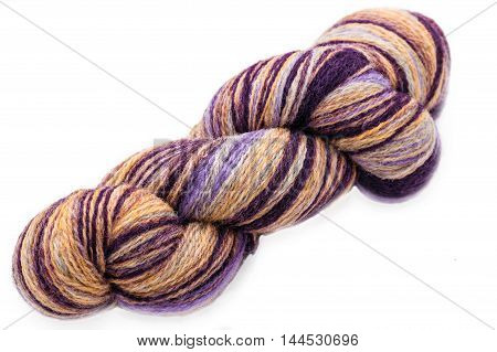 colorful skein of wool yarn isolated on white background