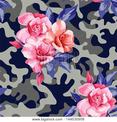 Trendy camo military urban seamless vector pattern with beautiful flower pink rose. Abstract background navy army khaki illustration in blue gray color scheme