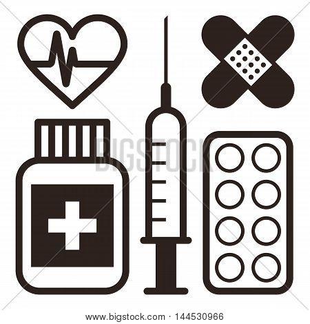 Мedical icons. Plaster ECG Syringe Ampoule Medicine Pills isolated on white background