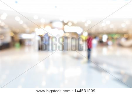 Shopping mall modern trade with people in blur background