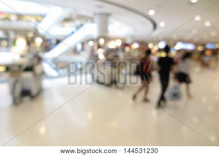 Shopping mall modern trade with people in blur background with bokeh
