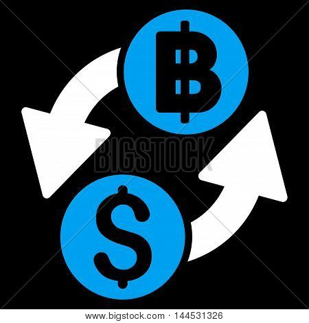 Dollar Baht Exchange icon. Vector style is bicolor flat iconic symbol with rounded angles, blue and white colors, black background.
