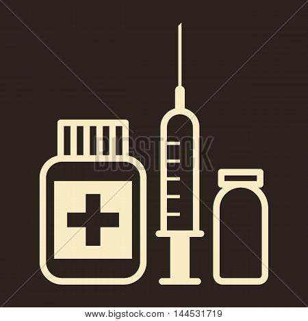 Medicine ampoule and syringe icon on dark background