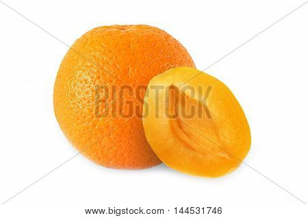 whole orange and half apricot without stone isolated on white background with clipping path