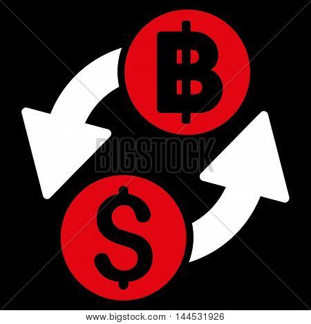 Dollar Baht Exchange icon. Vector style is bicolor flat iconic symbol with rounded angles, red and white colors, black background.