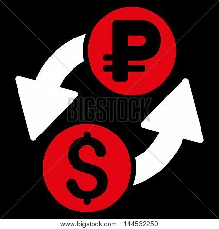 Dollar Rouble Exchange icon. Vector style is bicolor flat iconic symbol with rounded angles, red and white colors, black background.