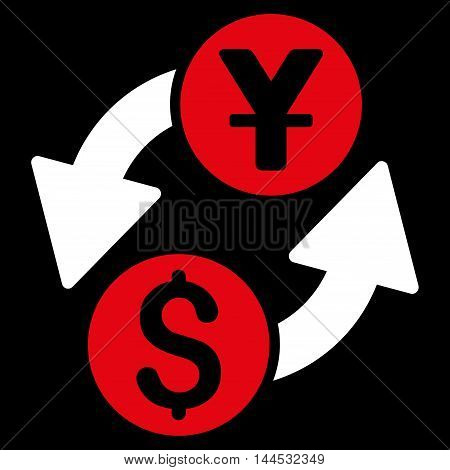 Dollar Yuan Exchange icon. Vector style is bicolor flat iconic symbol with rounded angles, red and white colors, black background.