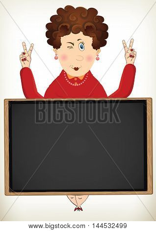 cheerful fat lady poses peace sign behind the blackboard for use in advertising presentations brochures blogs documents and forms etc