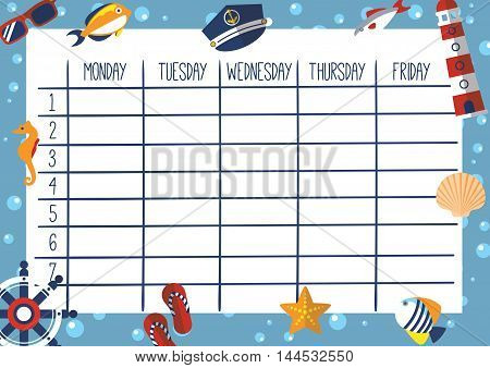 Cute Calendar Weekly Planner Template. Marine Theme Illustration. Organizer and Schedule.
