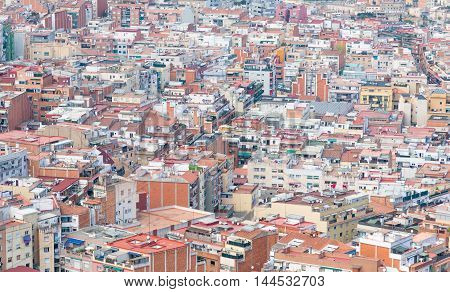 Aerial view of a suburb of Barcelona Spain