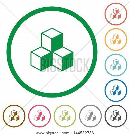 Set of cubes color round outlined flat icons on white background