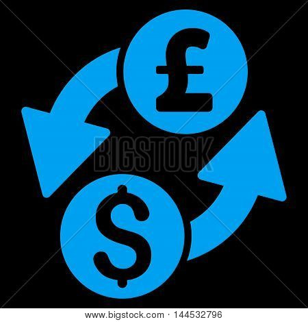 Dollar Pound Exchange icon. Vector style is flat iconic symbol with rounded angles, blue color, black background.