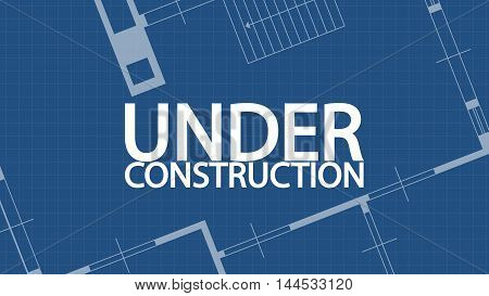 illustration of blueprint under construction word and house on blue backgound