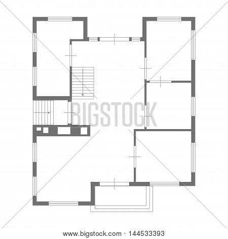 illustration of blueprint of some house on white background