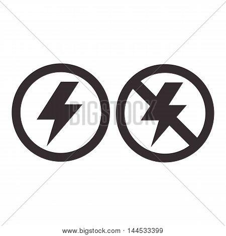 Lightning and no lightning icon isolated on white background