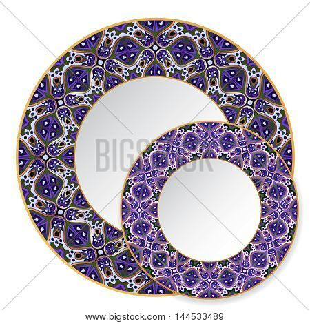 Two blue circular ornaments with gold contour for dishes, plates and souvenirs. Vector illustration.