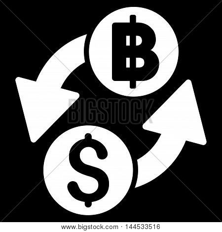 Dollar Baht Exchange icon. Vector style is flat iconic symbol with rounded angles, white color, black background.