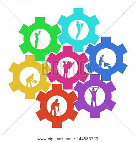 illustration of colored silhouettes different workers connected by cogwheels