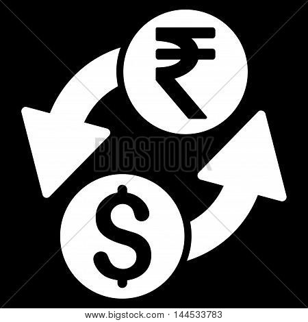 Dollar Rupee Exchange icon. Vector style is flat iconic symbol with rounded angles, white color, black background.