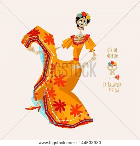 La Calavera Catrina. Elegant Skull. Dia de Muertos. Dancing skeleton. Vector illustration. Day of the Dead