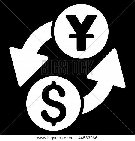 Dollar Yuan Exchange icon. Vector style is flat iconic symbol with rounded angles, white color, black background.