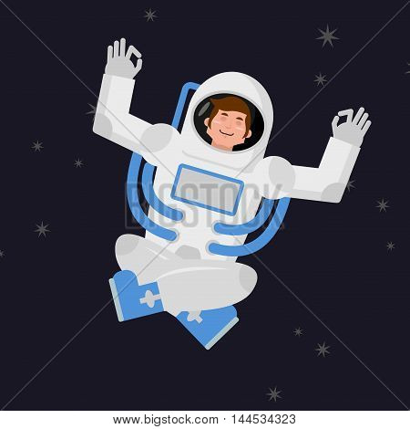Yoga Space. Astronaut Meditating In Open Space. Cosmonaut Zen And Relaxation. Man In Space Suit Know