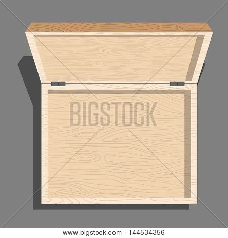 Empty Open Wooden Box Top View. Case Isolated From Boards. Unblock Cover Container
