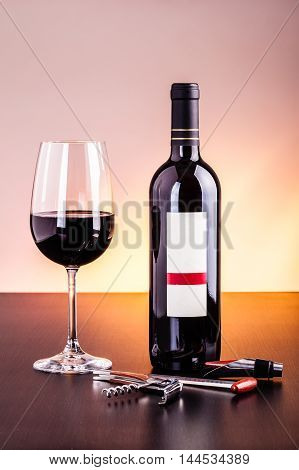 Red Wine Bottle And Red Wine Glass