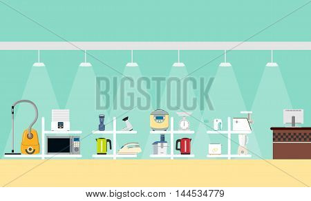 A poster with a view of the interior of the store small household appliances. Vector illustration