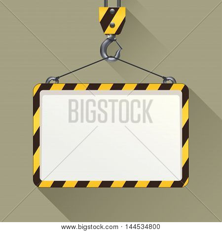 illustration of construction hook with banner on grey background